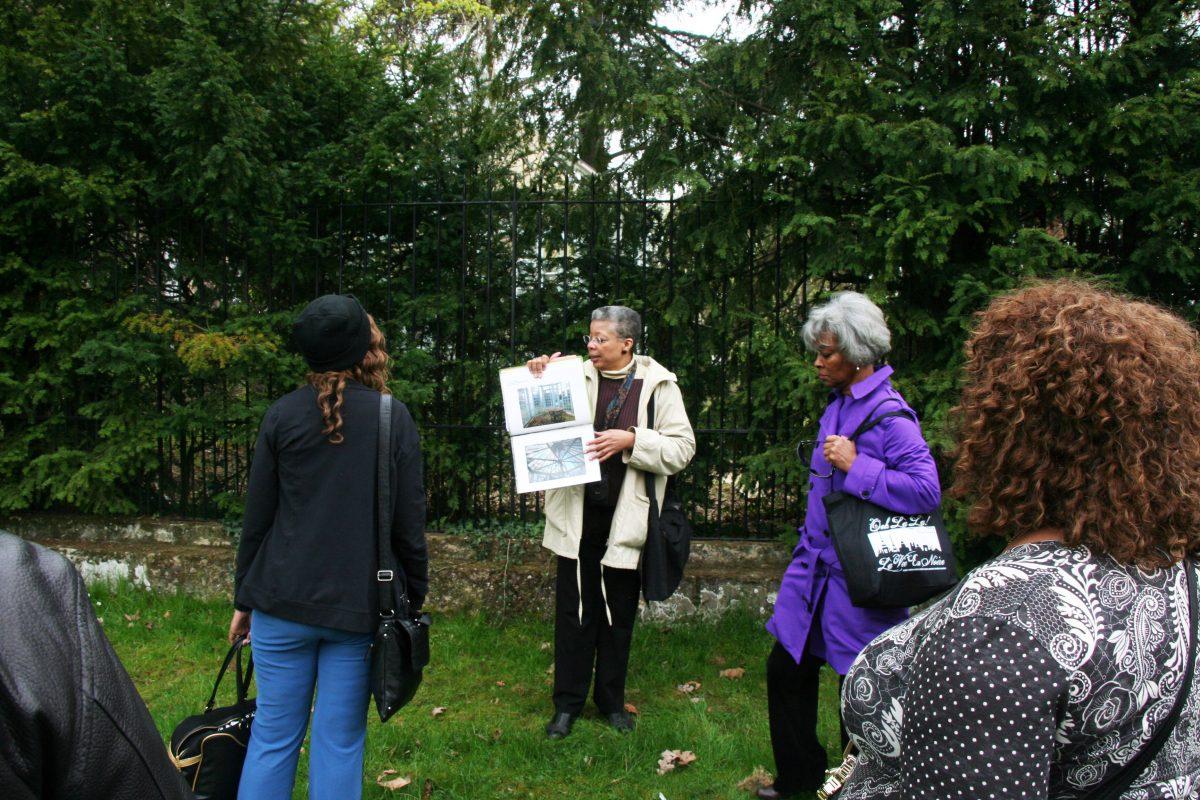 Monique Wells giving presentation of Le Beau Chêne