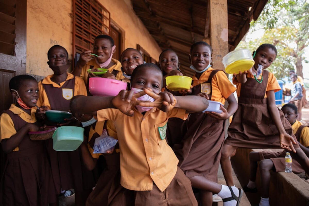 Student recipients of the School Feeding Programme at La Wireless Cluster of Schools in Ghana