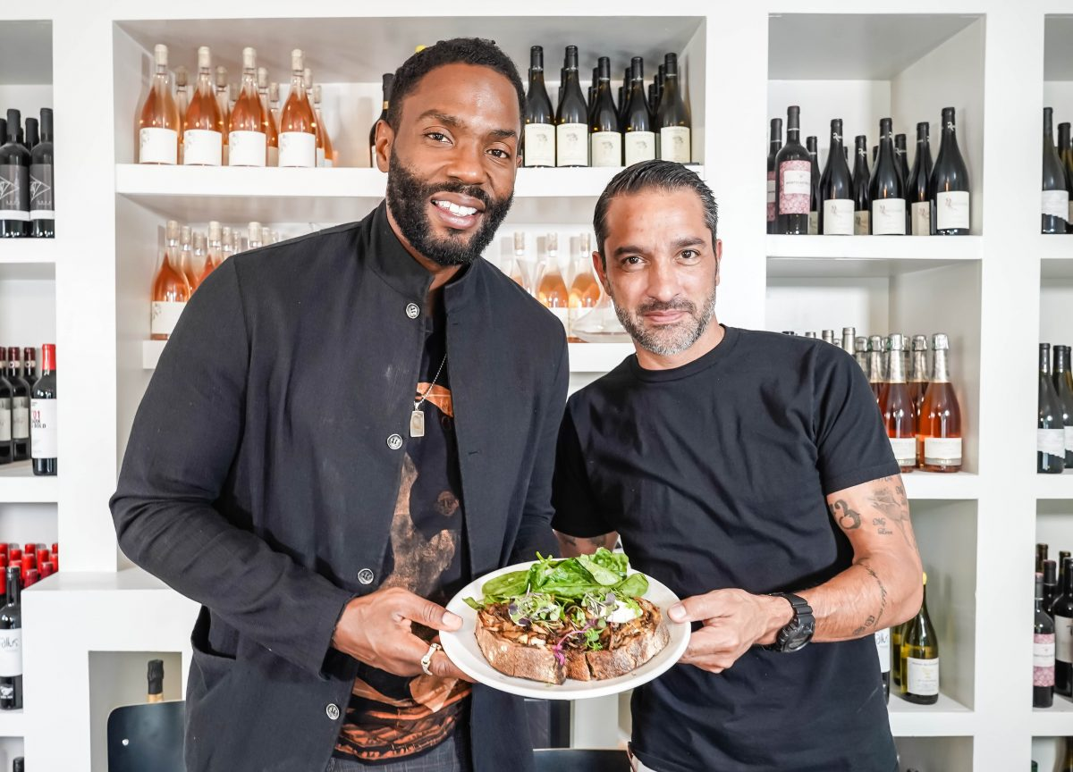 Actor Tobias Truvillion with Plant Food + Wine general manager Martin Chavez