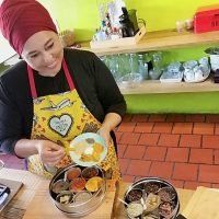 Fayruza Abrahams during her Zoom cooking class